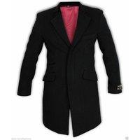 De La Creme  Wool   Cashmere Velvet Trim Coat  mens Coat in Black