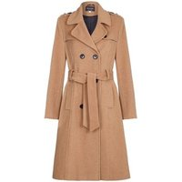 De La Creme  Winter Wool   Cashmere Belted Long Military Trench Coat  womens Coat in Beige