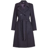 De La Creme  Winter Wool   Cashmere Belted Long Military Trench Coat  womens Trench Coat in Grey