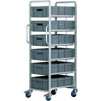 Image of Euro Container Tray Trolley / Rack with 6 trays 170h + Braked wheels