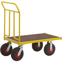 Image of Double-ended heavy duty platform trolley with pneumatic wheels