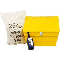 'Mini 50 Litre Grit Bin With Hasp And Staple With 1 X 25kg Bag White De-icing Salt And Scoop