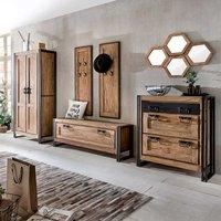 Flur Garderobe Luxus Flurgarderobenset aus Sheesham Massivholz Metall