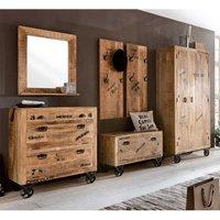 Luxus Garderobenset im Loft Design Holz massiv