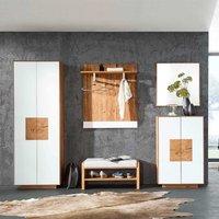 Luxus Flurmöbel Garderobenset in Weiß Wildeiche Massivholz