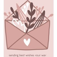 "Image of Best Wishes 7x5"" (18x13cm) Folded Greeting Cards, Card & Stationery Pink"