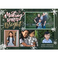 "Image of Christmas Spirits Bright 7x5"" (18x13cm) Flat Card set of 20 (matt cardstock), rounded corners, Card & Stationery Green"