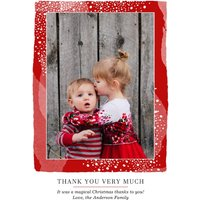 """Image of Christmas Border Thank You 7x5"""" (18x13cm) Folded Greeting Cards, Card & Stationery Red"""