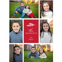 "Image of Merriest Pine 7x5"" (18x13cm) Flat Card set of 20 (gloss cardstock), rounded corners, Card & Stationery Red"