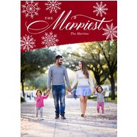 "Image of Snowflake Corner 7x5"" (18x13cm) Flat Card set of 20 (gloss cardstock), rounded corners, Card & Stationery Red"