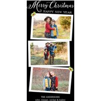 "Image of Merry Christmas Happy New Year 8x4"" (20x10cm) Flat Card set of 20 (matt cardstock), Card & Stationery square Black"