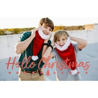 """Image of Hello Christmas 7x5"""" (18x13cm) Folded Greeting Cards, Card & Stationery Red"""