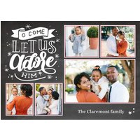 "Image of Christmas Let Us Adore Him 8x6"" (20x15cm) Flat Card set of 20 (gloss cardstock), Card & Stationery square Gray"
