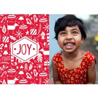 """Image of Christmas Joy 7x5"""" (18x13cm) Folded Greeting Cards, Card & Stationery Red"""