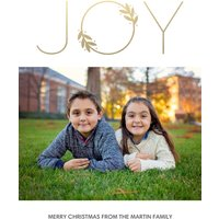 "Image of Joy Wreath 7x5"" (18x13cm) Flat Card set of 20 (matt cardstock), rounded corners, Card & Stationery Yellow"