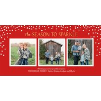 "Image of Season To Sparkle 8x4"" (20x10cm) Flat Card set of 20 (gloss cardstock), rounded corners, Card & Stationery Red"