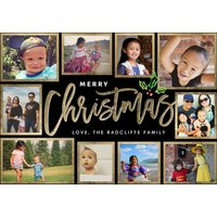 "Image of Christmas Gold Frames 8x6"" (20x15cm) Flat Card set of 20 (gloss cardstock), Card & Stationery square Black"