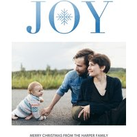 "Image of Joy Snowflake 8x6"" (20x15cm) Flat Card set of 20 (gloss cardstock), rounded corners, Card & Stationery Blue"