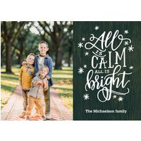 "Image of Christmas All is Calm Rustic 8x6"" (20x15cm) Flat Card set of 20 (matt cardstock), Card & Stationery square Green"