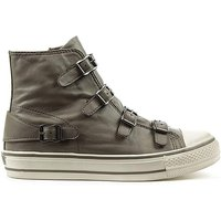 Ash Grey Leather Womens Trainer AA01101