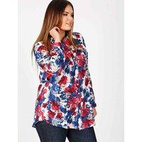 Koko red and blue floral print shirt