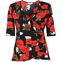 Lovedrobe GB floral print wrap top