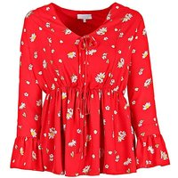 Lovedrobe GB red floral tie front blouse