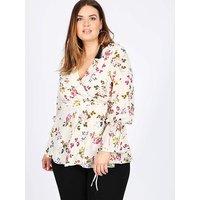 Koko floral wrap over ruffle cuff blouse
