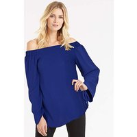 Cobalt Blue Ruched Sleeve Bardot Top