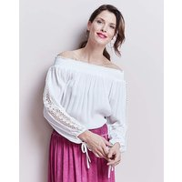 Ivory Embroidered Crinkle Bardot Top at JD Williams Catalogue