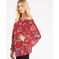 Red Floral Ruched Sleeve Bardot Top