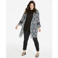 Mono Longline Kimono With Lace Trim