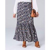 Floral Print Button Front Maxi Skirt