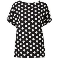 Black/White Spot Drop Sleeve Shell Top