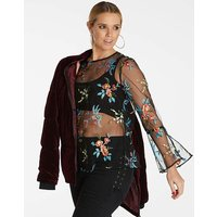 Black Multi Embroidered Mesh Blouse