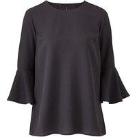 Petite Black 3/4 Fluted Sleeve Blouse