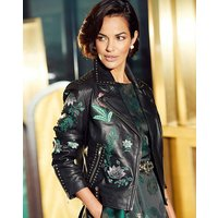 Joanna Hope Embroidered Leather Jacket