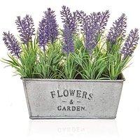 Artificial Lavender in Tin Trough