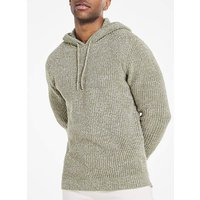 Olive Twisted Knit Hoodie.
