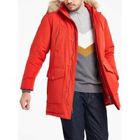 Red Padded Detachable Fur Hooded Parka.