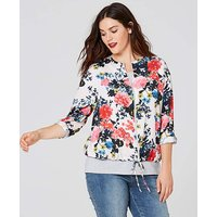 Multi Floral Zip Front Bomber Blouse