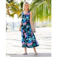 Black Floral Tiered Jersey Maxi Dress