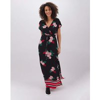 Floral Print Wrap Jersey Maxi Dress