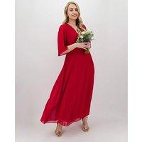 Dark Red Kimono Sleeve Maxi Dress