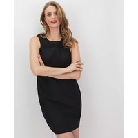 Black Crochet Trim Linen Shift Dress