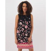 Print Crochet Trim Linen Shift Dress