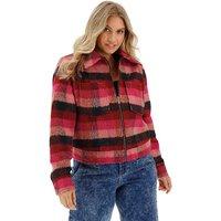 Pink Check Wool Trucker Coat