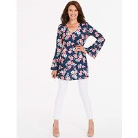 Navy Floral Print Bell Sleeve Tunic