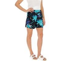Black & Blue Floral Print Jersey Shorts