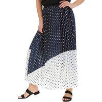 Spot Print Sunray Pleat Maxi Skirt